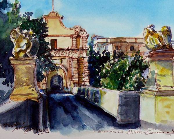 Mdina Poster featuring the painting Mdina Gateway by Doranne Alden