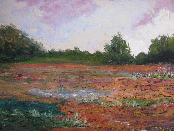 Landscape Poster featuring the painting Meadow Creek - Late Summer by Belinda Consten