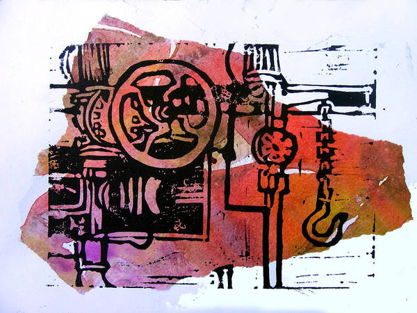 Lino Machine Print Red Poster featuring the digital art Mech Heating Up by Adam Kissel