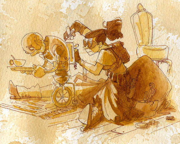 Steampunk Poster featuring the painting Mechanic by Brian Kesinger
