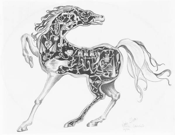 Drawing Poster featuring the drawing Mechanical Horse by Victoria Shea