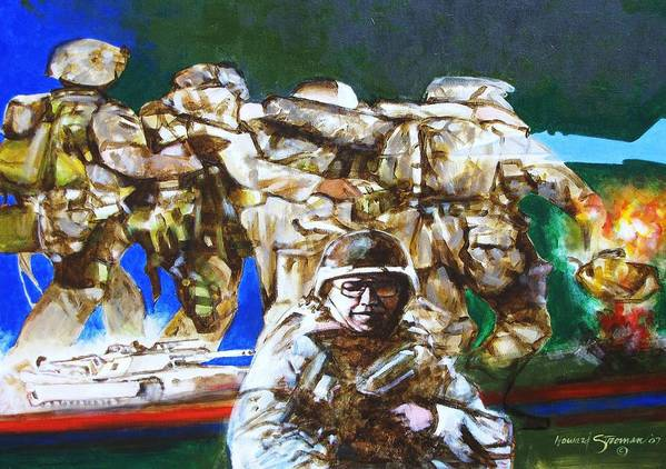 Military In Iraq Poster featuring the painting Med Evac Battle For Fallujah Iraq by Howard Stroman