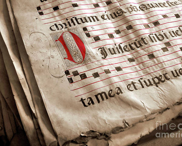Aged Poster featuring the photograph Medieval Choir Book by Carlos Caetano