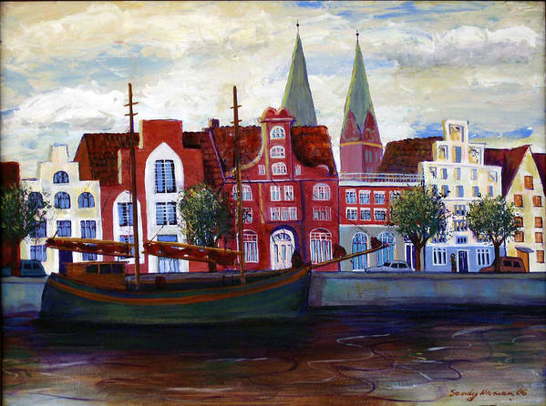 Lubeck Poster featuring the painting Medieval Town In Lubeck Germany by Art Nomad Sandra Hansen