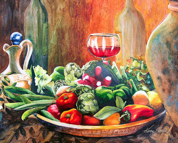 Still Life Poster featuring the painting Mediterranean Table by Karen Stark