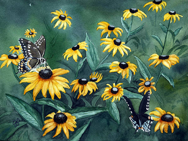 Butterflies Poster featuring the painting Meeting Place by Julie Pflanzer