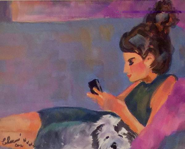 A Young Adult With Her Phone And Dog - Cannot Ask For Anything More. Bright Colors Poster featuring the painting Mel And Peek A Boo by Charme Curtin