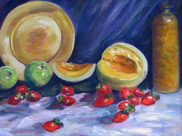 Still Life Poster featuring the painting Melons With Strawberries by Richard Nowak