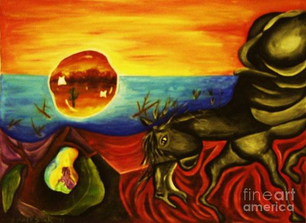 Surrealism Paintings Poster featuring the painting Melting Mammal by Jamey Balester