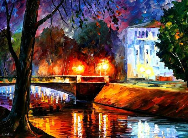 Afremov Poster featuring the painting Memories Of The First Love by Leonid Afremov