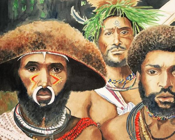 Men From New Guinea Poster featuring the painting Men From New Guinea by Judy Swerlick