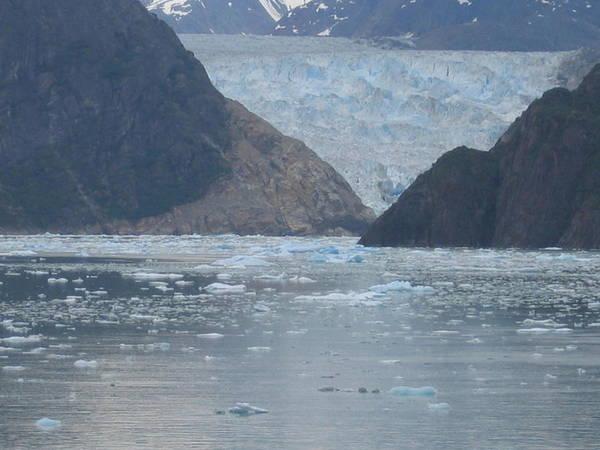 Poster featuring the digital art Mendenhall Glacier Alaska by Barb Morton