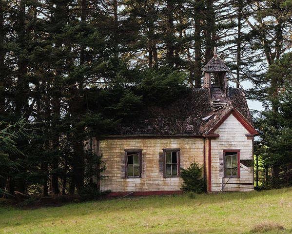 Mendocino Poster featuring the photograph Mendocino Schoolhouse by Grant Groberg