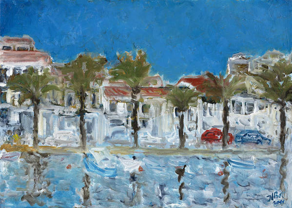Menorca Spain Harbour Water Blue Palm Trees White Houses Reflections Sky Island Poster featuring the painting Menorca by Joan De Bot
