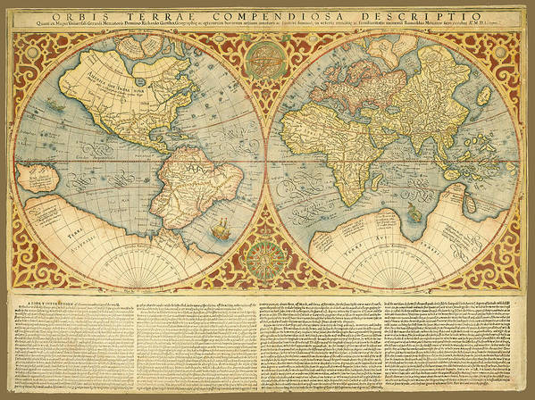 1587 World Map.Mercator 1587 World Map With Text Poster By C H Apperson