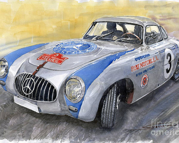 Automotive Poster featuring the painting Mercedes Benz 300 Sl 1952 Carrera Panamericana Mexico by Yuriy Shevchuk