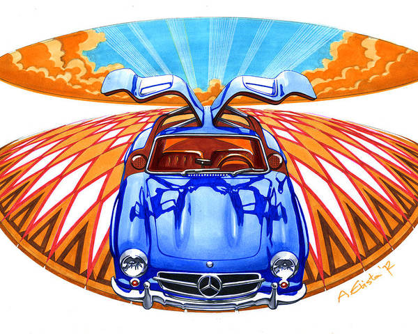 Mercedes Poster featuring the drawing Mercedes-benz 300 Slk by Andre Elista
