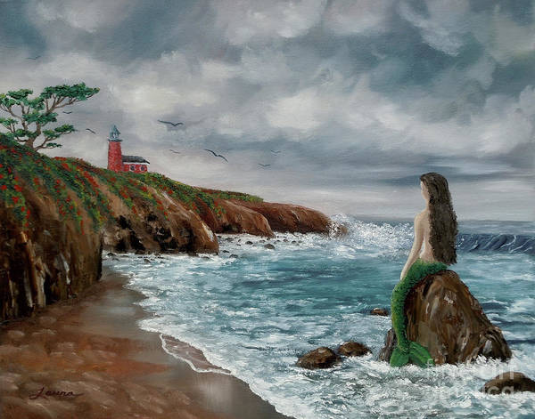 Seascape Poster featuring the painting Mermaid At Santa Cruz by Laura Iverson