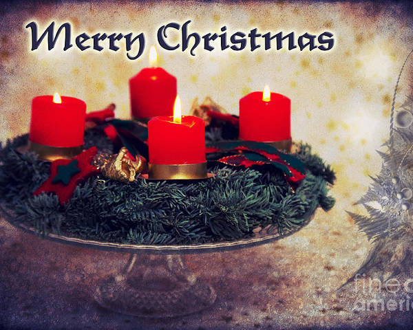 Christmas Poster featuring the photograph Merry Christmas by Angela Doelling AD DESIGN Photo and PhotoArt