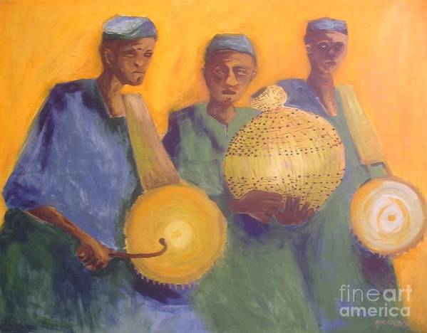 Drummers Poster featuring the digital art Merry Makers by Joe Ibenegbu Azunna