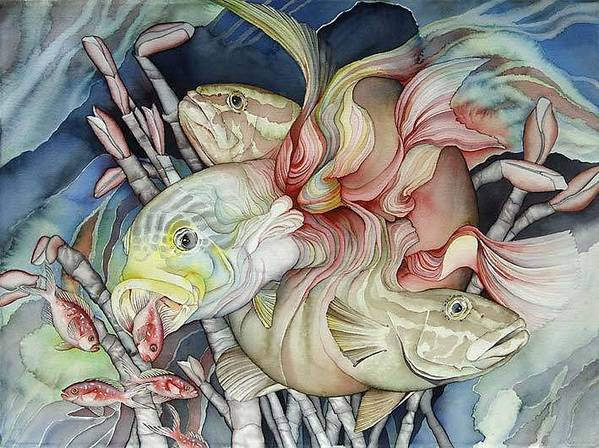 Sealife Poster featuring the painting Metamorphose De Poissons by Liduine Bekman