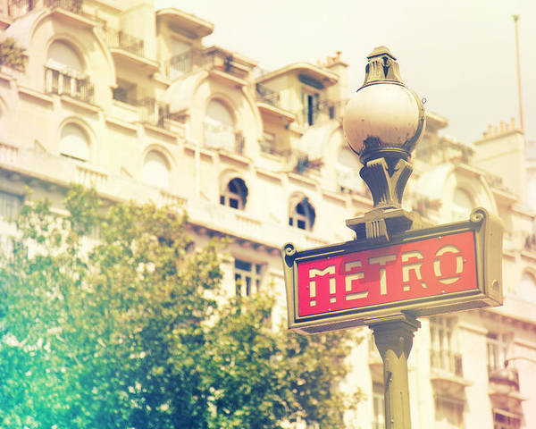 Angle Poster featuring the photograph Metro Sign Paris Shabby Chic by Sandra Rugina
