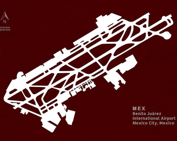 Silhouette Poster featuring the digital art Mex Benito Juarez International Airport Silhouette In Red by Jurq Studio