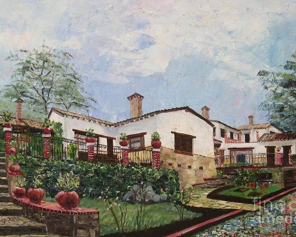 White Stucco Building Poster featuring the painting Mexican Hacienda After The Rain by Judith Espinoza