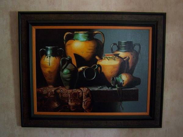 Stilllife Painting Poster featuring the painting Mexican Pottery by Robert E Gebler