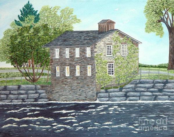 Historic Mills Painting Poster featuring the painting Meyers Mill by Peggy Holcroft