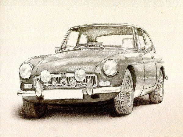 Mg Mgb Poster featuring the drawing Mg Mgb Mkii by Michael Tompsett