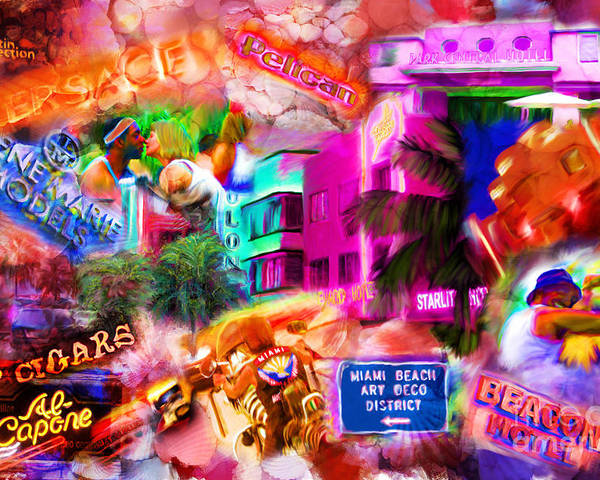 Southbeach Poster featuring the mixed media Miami Deco by Marilyn Sholin