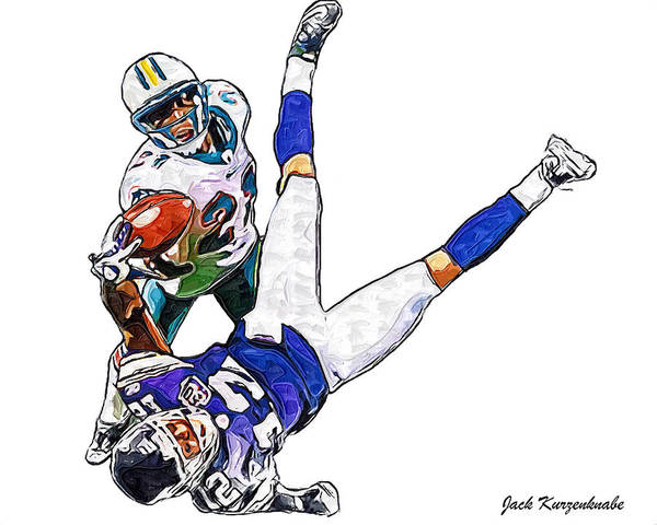 Miami Dolphins Poster featuring the digital art Miami Dolphins Vontae Davis And Minnesota Vikings Percy Harvin by Jack K