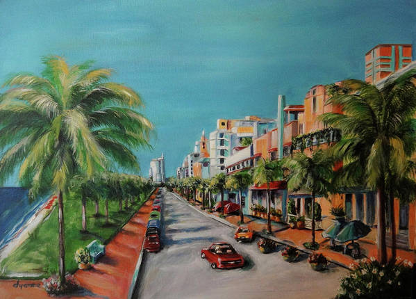 Miami Poster featuring the painting Miami For Daisy by Dyanne Parker