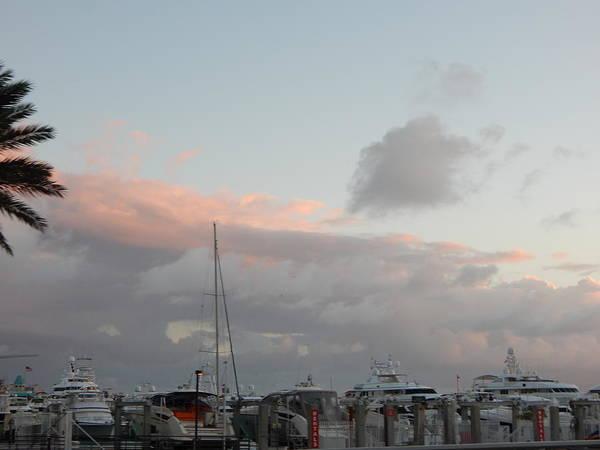 Miami Poster featuring the photograph Miami Marina Clouds by Morgan Guigon