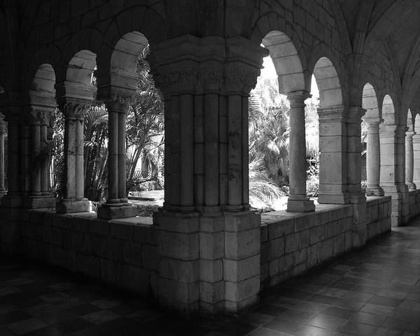 Black And White Poster featuring the photograph Miami Monastery In Black And White by Rob Hans