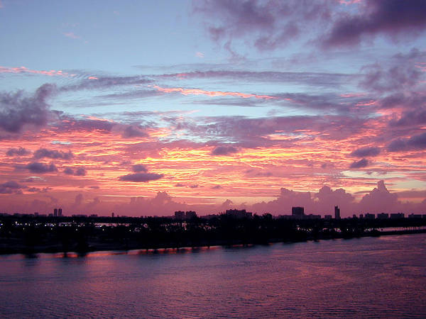 Sunrise Poster featuring the photograph Miami Sunrise by Tobin Truslow