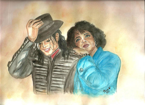 Michael Jackson And Oprah Poster featuring the painting Michael Jackson And Oprah by Nicole Wang