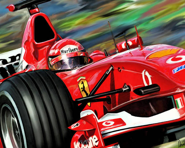 Michael Schumacher Poster featuring the digital art Michael Schumacher Ferrari by David Kyte