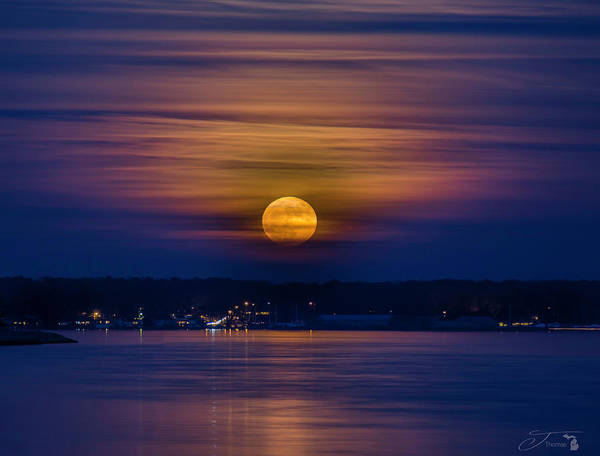 Moon Poster featuring the photograph Michigan Super Moon Over Muskegon Lake by J Thomas