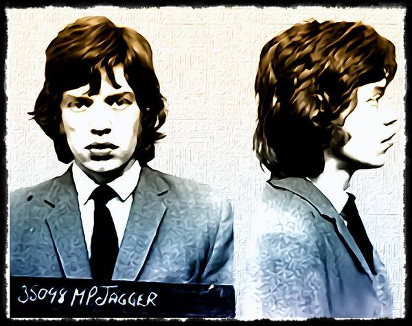 Mick Jagger Mugshot Poster featuring the photograph Mick Jagger Mugshot by Bill Cannon