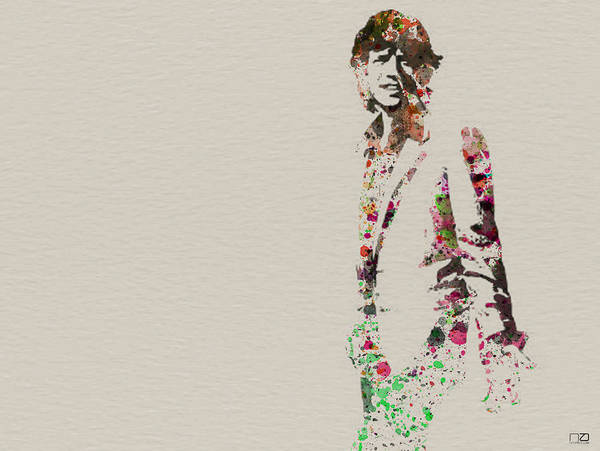 Mick Jagger Poster featuring the painting Mick Jagger Watercolor by Naxart Studio