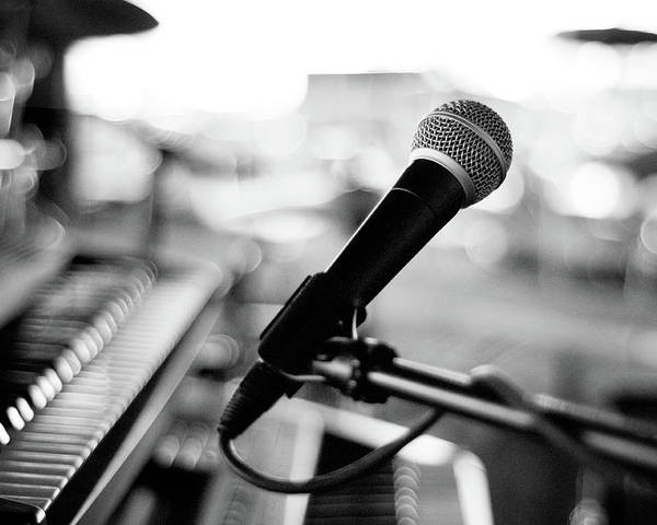 Horizontal Poster featuring the photograph Microphone On Empty Stage by Image By Randymsantaana