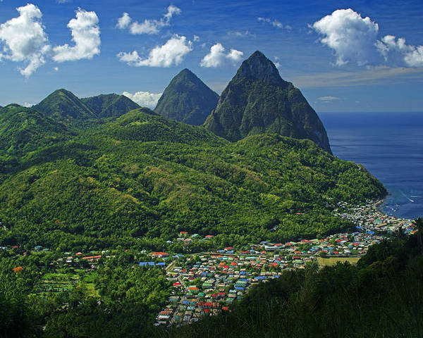 St Lucia Poster featuring the photograph Midday- Pitons- St Lucia by Chester Williams