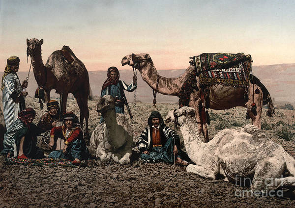 1890s Poster featuring the photograph Middle East: Travelers by Granger