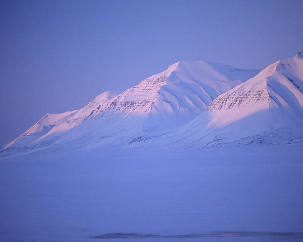 Spitsbergen Poster featuring the photograph Midnight Sunset On Polar Mountains by Gordon Wiltsie