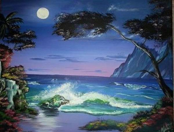 Tropical Poster featuring the painting Midnight Tropicale by Valerie Heath