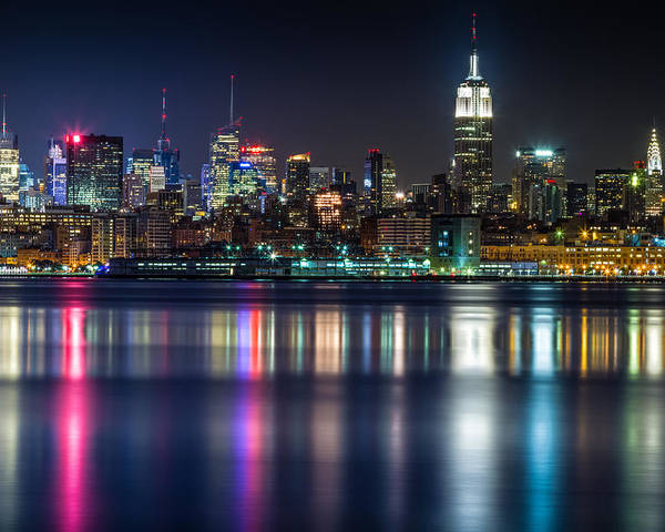 New York Poster featuring the photograph Midtown Manhattan From Jersey City At Night by Val Black Russian Tourchin