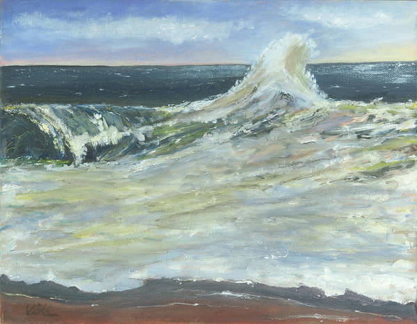 Seascape Poster featuring the painting Mighty Nauset Wave by Viola Holmgren