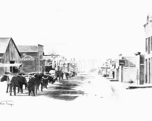 Western Poster featuring the drawing Miles City 1883 by Karen Elkan